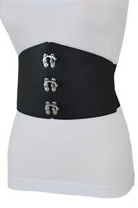 Women Belt Wide Elastic Winter White Fashion Hip High Waist Round Buckle M L XL