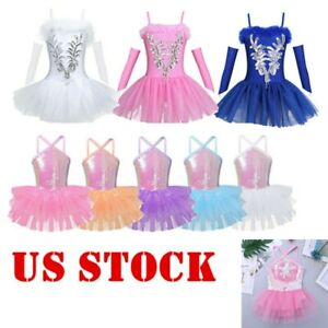 Girls-Sequins-Ballet-Dance-Dress-Kids-Leotard-Ballerina-Performance-Dancewear-US