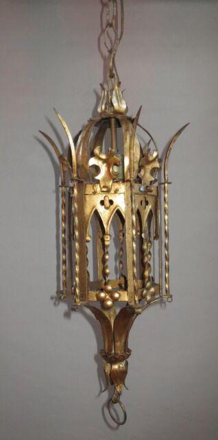 HUGE STUNNING ORIGINAL DECO NOUVEAU ERA ESTATE BRANDT GOLD HANGING SCONCE LAMP