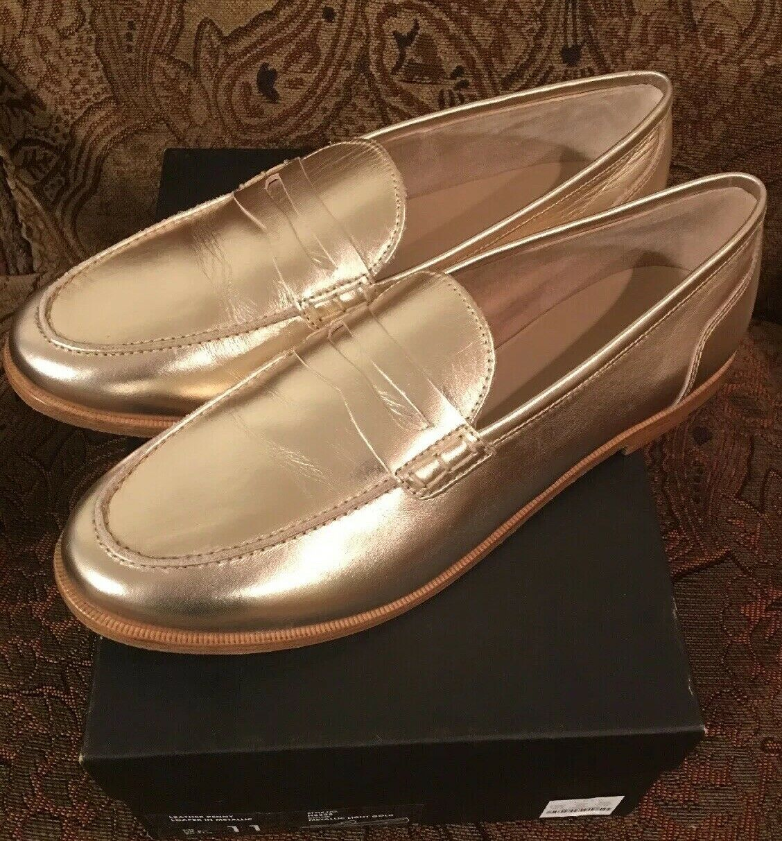 NIB JCREW  158 Ryan penny loafers in metallic leather Sz11 H8228 Light gold