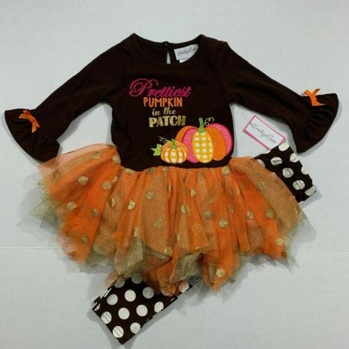 Emily Rose NWT Size 2T 8 Boutique Thanksgiving Pumpkin Patch Tulle Dress Outfit