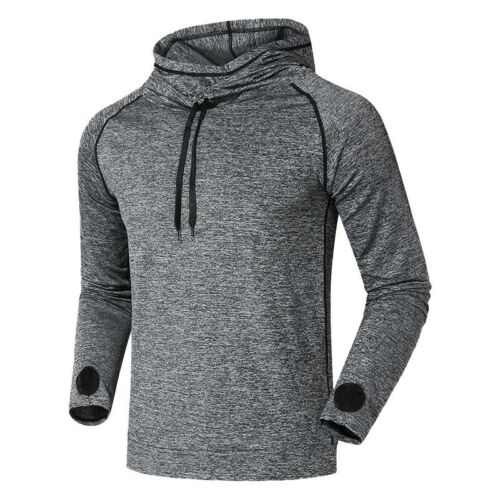 Men Sports Blouse Long Sleeve Baggy Hooded Training Suit Quick-drying Shirt Slim