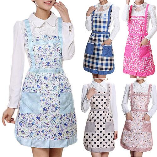 Women/'s Princess Apron Bib Cooking Chef Floral Dotted Pocket Kitchen Won Qu/_ HK