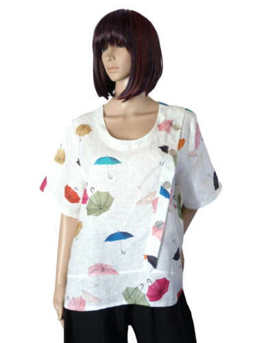 42//44 46//48 50//52 Leinenbluse Kurzarm Bluse Tunika Shirt Weiss Umbrella ITALIEN