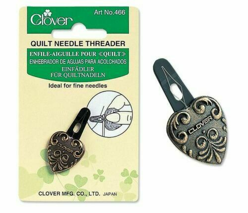 CL466 CLOVER SEWING /& QUILTING NEEDLE THREADER FINE NEEDLES IN ANTIQUE GOLD