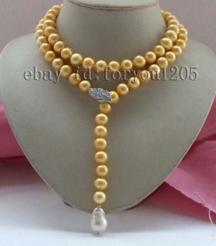"35/"" 12 mm Naturel Golden Round Pearl Collier reborn Perle Pendentif 925sc #f2385!"