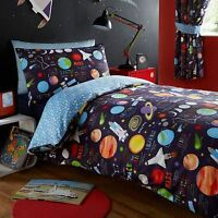 PLANETS SPACE ROCKETS SINGLE DUVET COVER SET - BLUE - KIDS BEDROOM - BEDDING