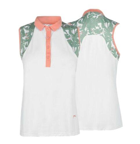 Ladies Slazenger Standard Top Sleeveless Fashion Polo Shirt Sizes from 10 to 16