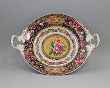 Porzellan Dose Schale auf Füßen Tafelaufsatz Blumendekor gold 9987163