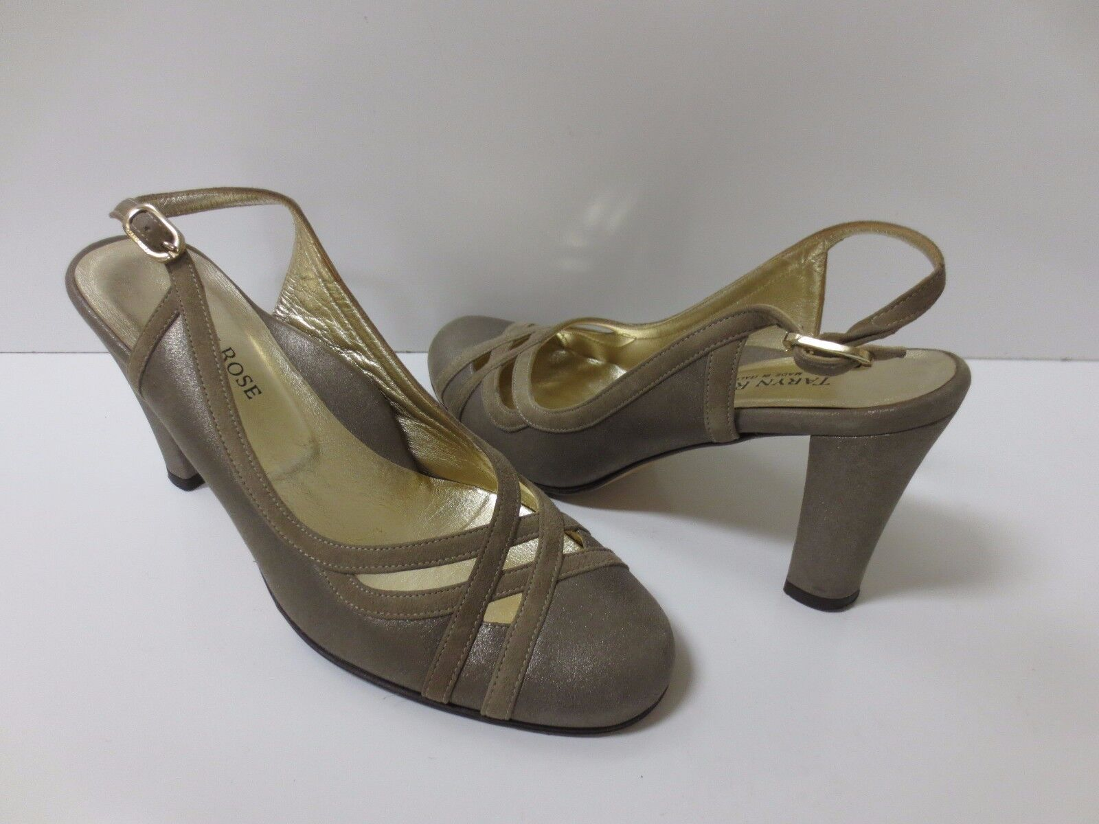 TARYN pink Champagne Leather Slingback Pumps Heels shoes 37.5 MINT