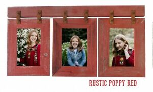 Wood Picture Frame 3 Set Collage Red Photo Barn Wall Display Hanging Rustic