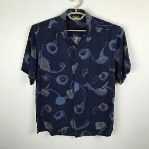 Axist-Hawaii-Shirt-Groesse-S-Blau-Floral-Seide-Herren-Kurzarm-Button-Down