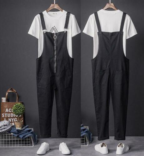 Men/'s Casual en coton noir Bib Overalls Bretelles Combinaison Pantalon Pantalon Neuf