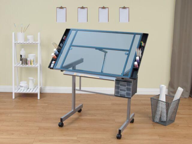 Drafting Table Desk Drawing Glass Adjustable Architect Design Art Furniture  Draw