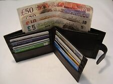 Man's Soft Sheep Skin Leather Wallet with Id Space and Back Zip and Button Close