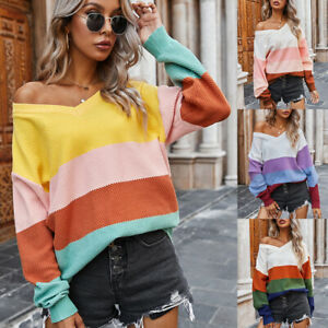Women-039-s-V-Neck-Knitted-Sweater-Color-Block-Jumper-Tops-Casual-Pullover-Blouse