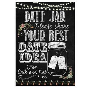 image regarding Date Night Jar Printable referred to as Data with regards to Individualized chalkboard wedding day day evening jar poster guestbook PRINTABLE Basically