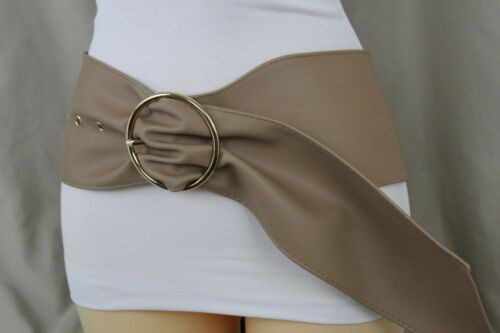 Women Wide Long Belt Tan Beige High Waist Hip Gold Metal Buckle Fashion Size S M