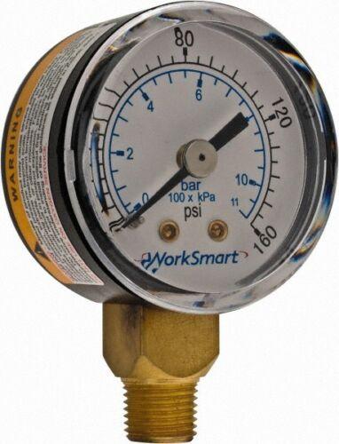 """Pressure Gauge Lowe... 0-160 Scale Range 1//8 NPT Thread WorkSmart 1-1//2/"""" Dial"""