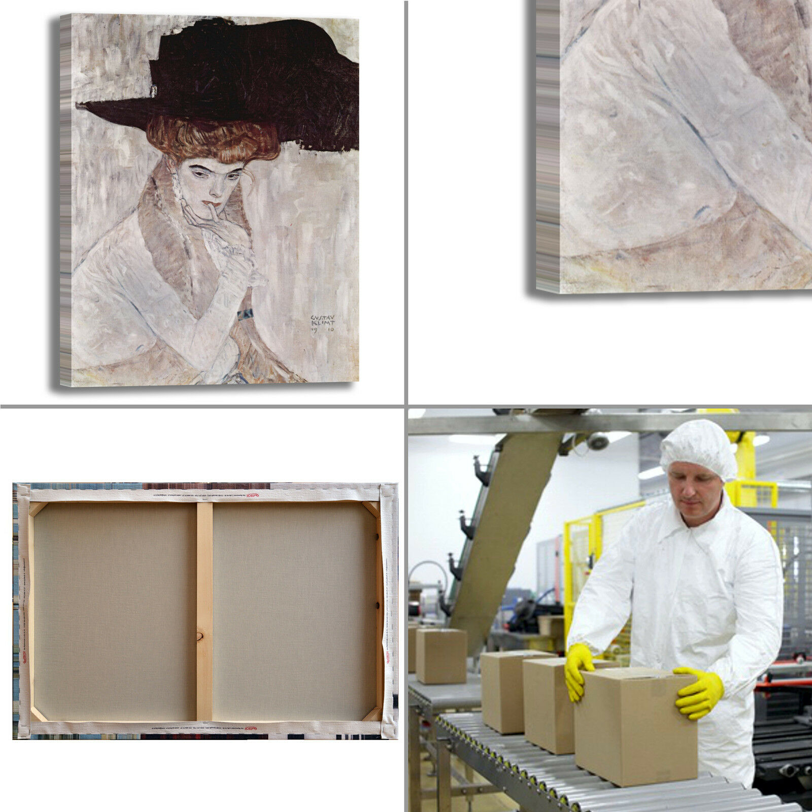 Gustav Klimt il cappello nero quadro quadro nero stampa tela dipinto telaio arRouge o casa f647da