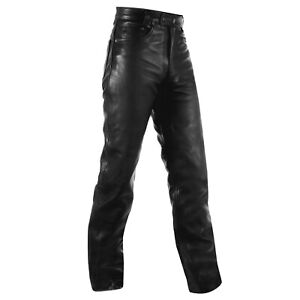 Motorcycle Quality Leather Trousers Biker Jeans Pants Motorbike Black 32