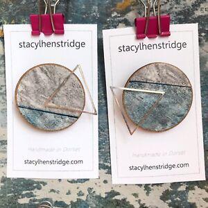 Handmade Geometric Screen Print Wooden Badge Pin Jewellery Stacylhenstridge