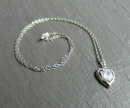 """Ladies Silver Chain Crystal Clear Rhinestone Heart Pendant Necklace 14/""""-24/"""" UK"""