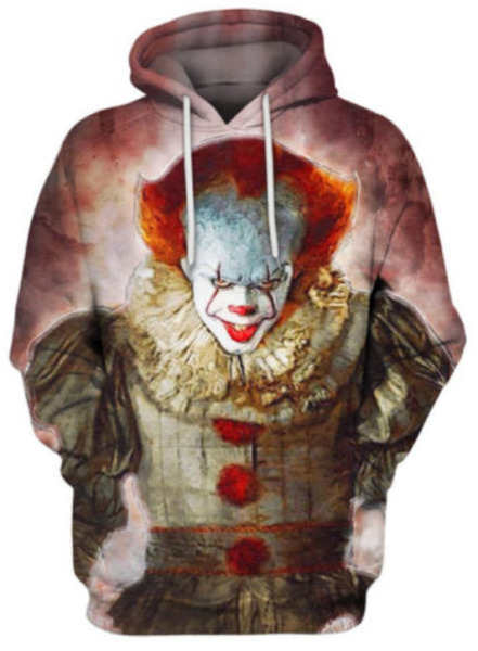 Stephen King 3D Hoodie It 2017 Pennywise Horror Movie Clown Print Size S – 6XL