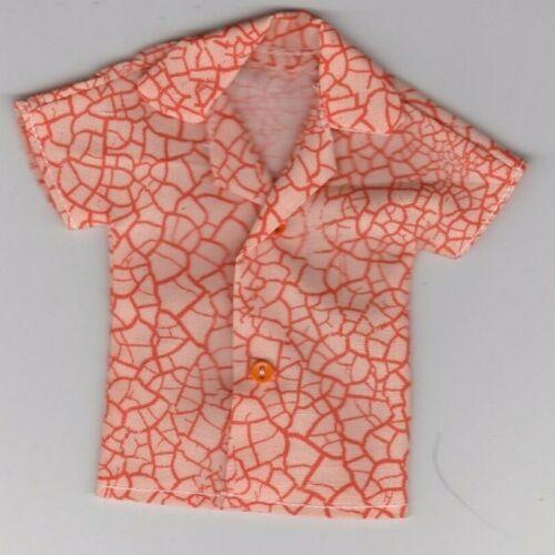 Homemade Doll Clothes-Orange on Orange Print Shirt fits Ken Doll B7