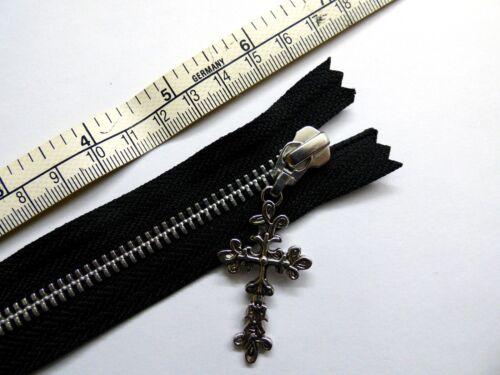 Metal Zip Black YKK Zipper Ornate Cross Puller Closed End