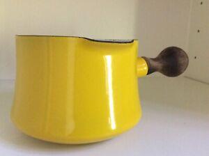 Vintage-Dansk-Kobenstyle-French-yellow-Sauce-Pan-pot-warmer-teak-handle