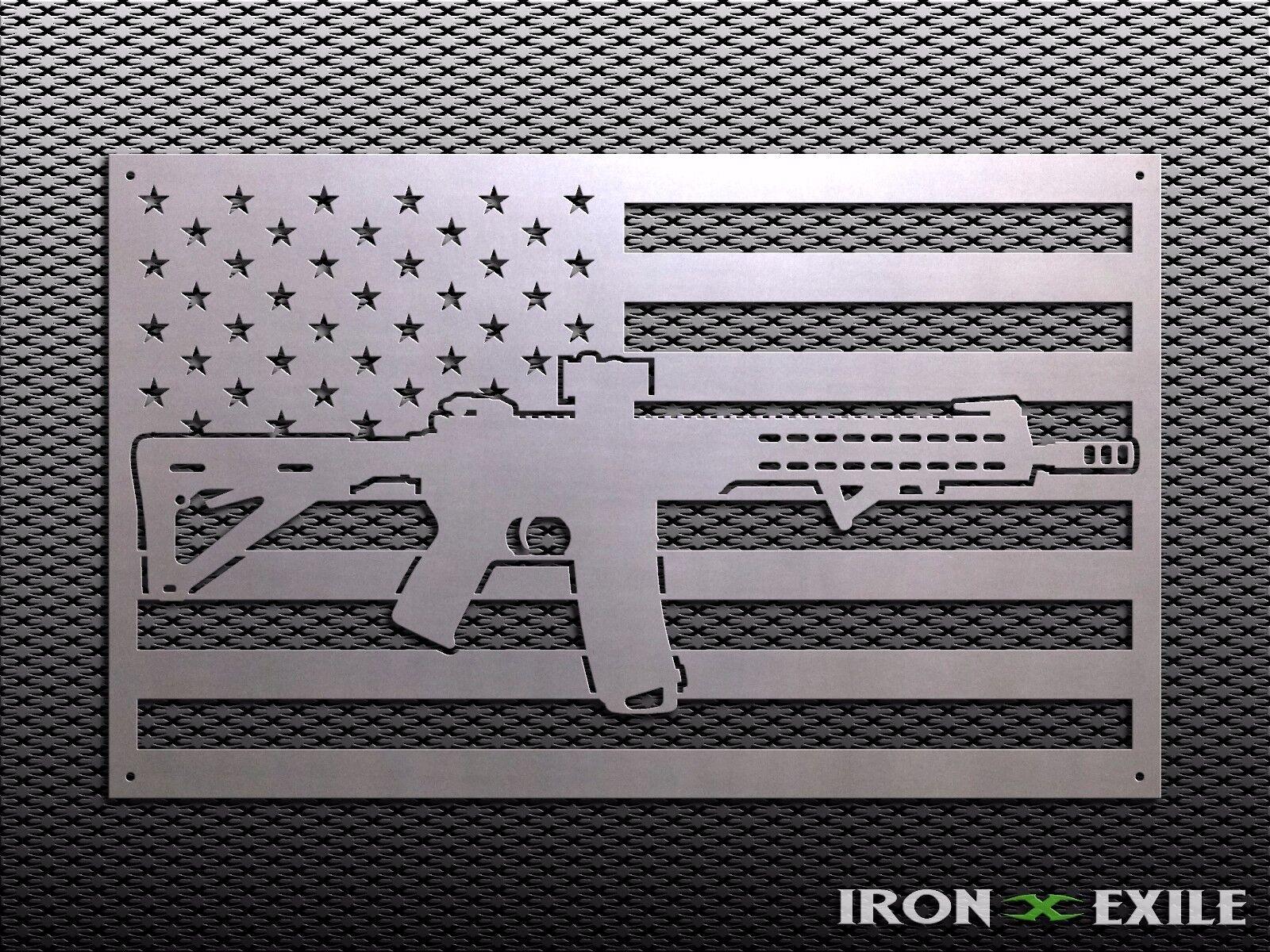 Ar15 Flag Usa American Rifle Freedom 2nd Amendment Rights Metal