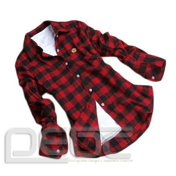 NEW Women Button Down Lapel Shirt Plaids & Checks Flannel Shirts Tops Blouse #1