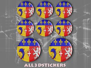 8 x Pegatinas Redondas 3D Relieve Bandera Provincia Navarra-Todas las Banderas