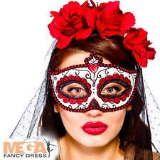 Day of the Dead Eye Mask Adult Fancy Dress Halloween Skeleton Ladies Costume Acc