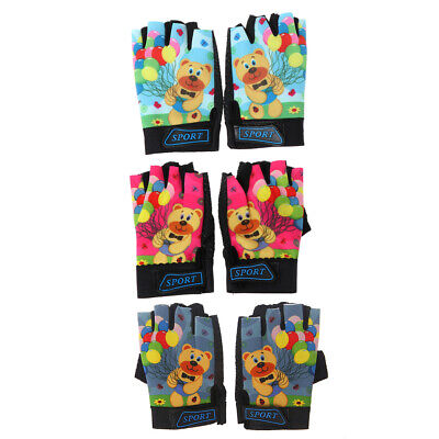 Cycling Gloves Kids Child Rabbit Outdoor Sports Non Slip Breathable Half Finger