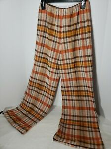 Act-III-ILGWU-60s-70s-Vintage-Hippie-Plaid-Polyester-Wide-Leg-Belled-Pant-See