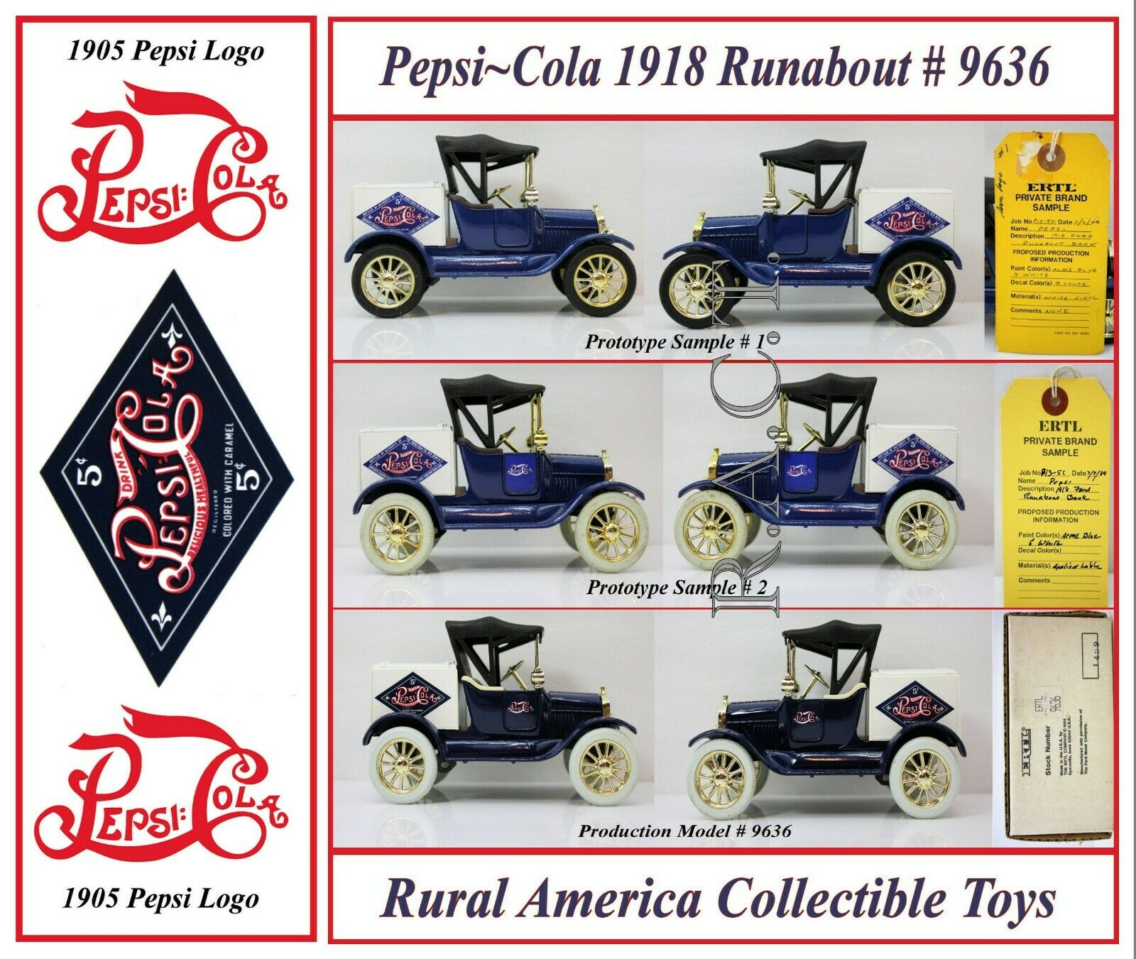 Pepsi 1918 Ford Runabout  2 Samples & Production Unit by ERTL
