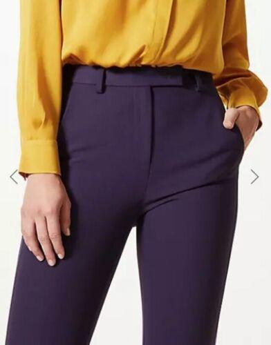 BNWT Femmes Ajusté Deep Purple Ankle Grazer Trousers Taille 24R m/&s RRP £ 35.00