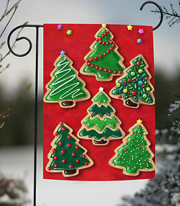 Details About Toland Christmas Cookies 12 5 X 18 Colorful Tree Cookie Frosting Garden Flag