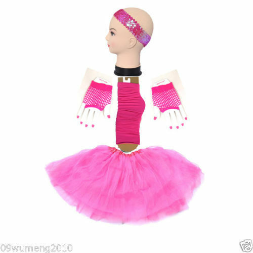Hotpink ShortGlove TUTU 4 Set Skirt Socks KidsGirlLady Ballet hen Party B