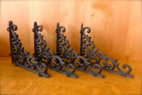 4 BROWN ANTIQUE-STYLE 9 SHELF BRACKETS CAST IRON garden wall VINE FLEUR DE LIS