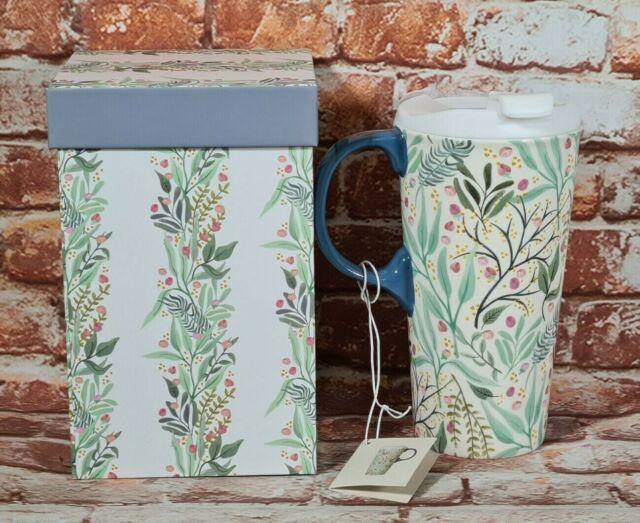 BNIB 500ml Ceramic Travel Mug Cup Floral Print Matching Floral Box