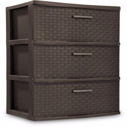 Sterilite Dresser Storage Plastic Cart Clothes Organizer Cabinet 3 Drawer Box