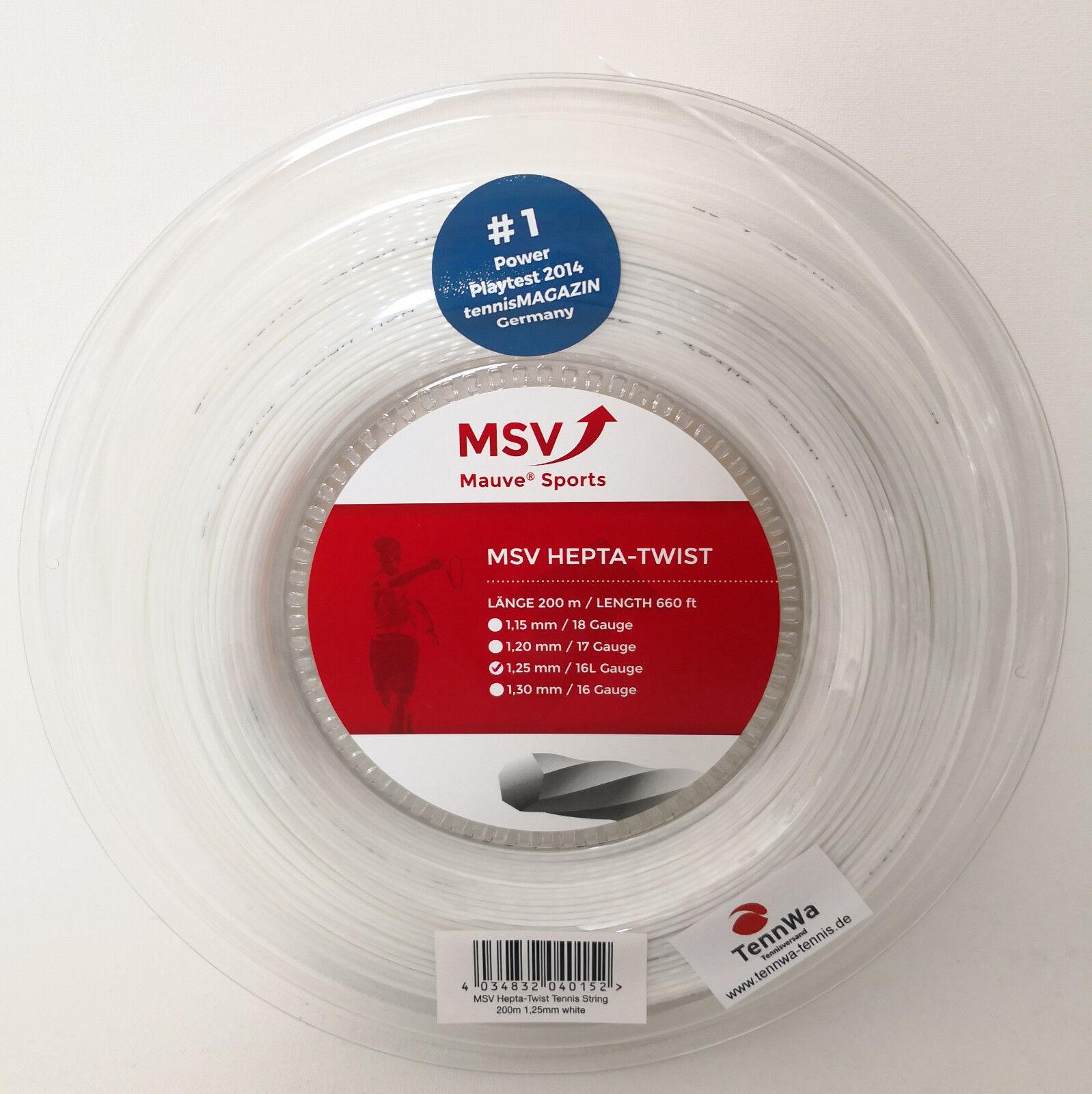 200m Mauve MSV Hepta Twist weiß - starke Spin Tennissaite (  lfd.m)