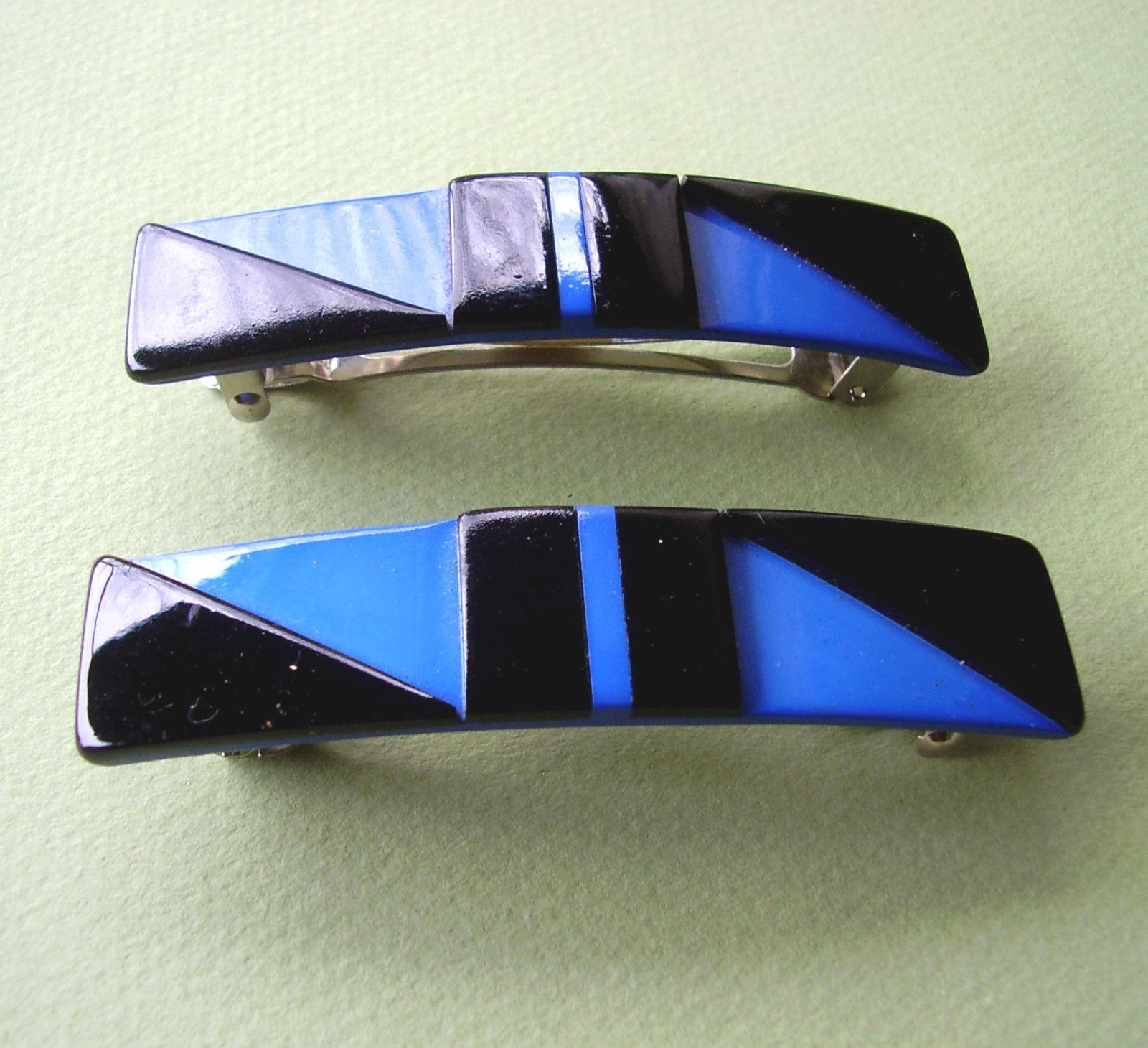 1508 / Par Pasadores Plástico Negro y Azul