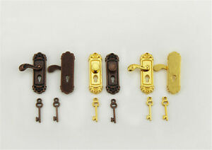 Vintage-Door-Lock-With-Keys-For-1-12-Dollhouse-Miniature-For-Kids-Doll-TRFR