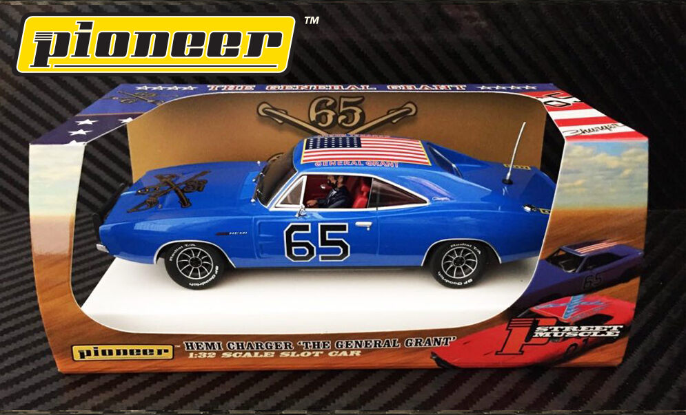 Pioneer Slot Car P094 Dodge Charger Dukes of Hazzard General Grant in Crazy bluee