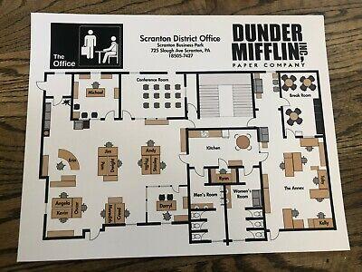 Dunder Mifflin Floor Plan Scranton The Office 11x14 Unframed Art Print Sealed Ebay