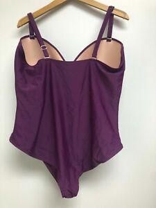 Tropical-Escape-Women-Plus-Size-22W-Rouched-One-Piece-Swimsuit-Suit-PURPLE